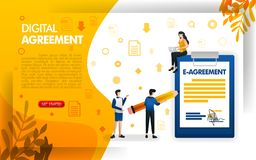 People signing agreements or contracts, digital agreements for businesses and companies, concept vector ilustration. can use for,. Landing page, template, ui stock illustration