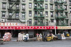 People and signs on allen street in chinatown manhattan new york Stock Images
