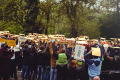 People with signs flashmob. Kiev, Ukraine - MAY 2017: day of safety of traffic.the crowd with signs involved in the flash mobn in the framework of the program of Royalty Free Stock Photo