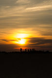 People sihiette sunset Stock Images