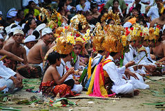 People siiting for religion ceremonial at Bali Royalty Free Stock Photo