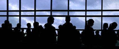 People silhouette. People waiting in line at the airport silhouette Royalty Free Stock Photo