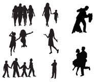 People silhouette. A set of fifty different people designs Stock Images