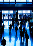 People silhouette. Walking people silhouette. Blue tint Stock Images