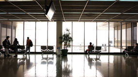 People silhouette at airport Royalty Free Stock Images