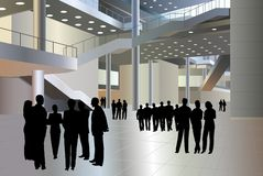 People silhouette in business center vector. People silhouette in modern business center, vector vector illustration