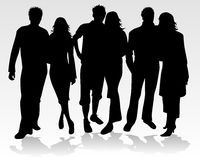 People Silhouette - couples Royalty Free Stock Photos