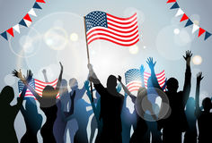 People Silhouette Crowd Hold Flag United States America Independence Day Party Stock Images