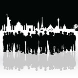 People silhouette front of famous monument illustration Royalty Free Stock Photography