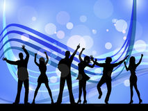 People Silhouette Indicates Disco Music And Celebration Royalty Free Stock Photos