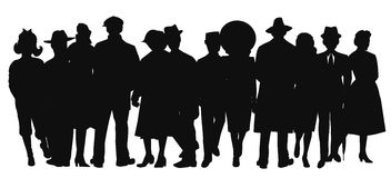 People in silhouette. Over white in various attire Stock Photography