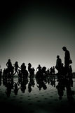 People silhouette reflections black and white Royalty Free Stock Photography