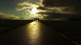 People Silhouette on Road in Field Nature in Sunset Landscape. Video stock video