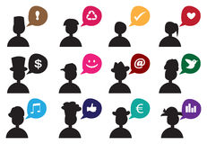 People Silhouette Speech Bubble Icon Set Stock Image