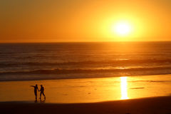 People Silhouette at Sunset, California Royalty Free Stock Photography