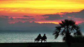 People Silhouette in the Sunset. Near the seaside stock video footage