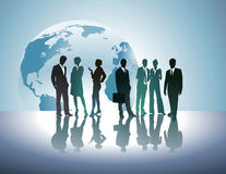 People silhouette and world globe Stock Image