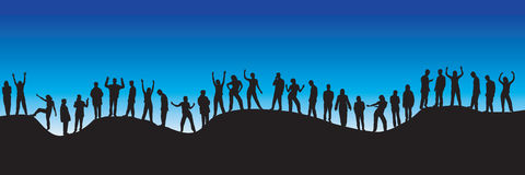 People silhouettes. 30 different people silhouettes on a blue background - additional ai and eps format available on request Royalty Free Stock Photos