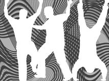 People silhouettes. Illustrations of people silhouetes against abstract background Stock Photo