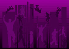 People silhouettes. Lots of people in action silhouettes Royalty Free Stock Image