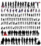 People silhouettes. Many people silhouettes on white background royalty free illustration