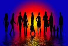 People Silhouettes. An illustration of different silhouetted people on water with setting sun in the background Royalty Free Stock Image