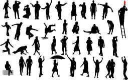 People silhouettes. Lots of silhouettes of people Royalty Free Stock Photo