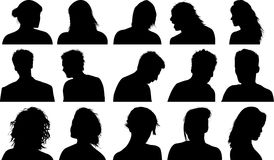 People silhouettes. Lots of men and woman silhouettes Stock Photo