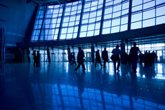 People silhouettes at airport