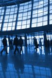 People silhouettes at airport Royalty Free Stock Photos