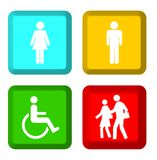 People silhouettes on buttons Stock Image
