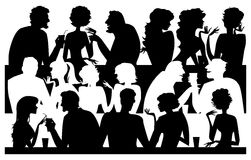 People silhouettes  at cafe Royalty Free Stock Photos