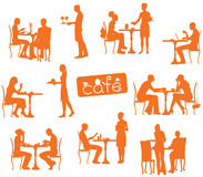 People silhouettes in cafe. Vector people silhouettes in cafe Royalty Free Stock Photos