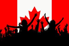 People silhouettes celebrating Canada national day. Happy people silhouettes celebrating Canada national day vector illustration
