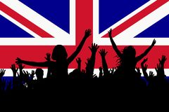 People silhouettes celebrating Great Britain national day. Happy people silhouettes celebrating Great Britain national day stock illustration