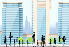 People Silhouettes Crowd on City Street Modern Stock Photo