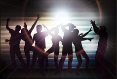 People silhouettes dancing Stock Image