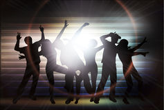 People silhouettes dancing Royalty Free Stock Images