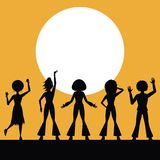 People dancing in disco. People silhouettes dancing in disco vector illustration graphic design vector illustration graphic design stock illustration