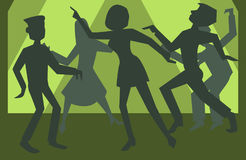 People silhouettes dancing vector background. People funny silhouettes dancing - vector background illustration Stock Images