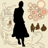 People silhouettes and designs Stock Photography