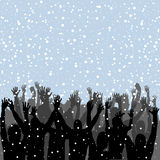People silhouettes enjoying snow Royalty Free Stock Images