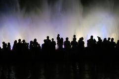 People silhouettes and fountain Stock Photo