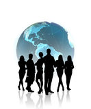 People silhouettes in front of the globe Royalty Free Stock Photography