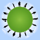 People silhouettes with globe illustration Stock Photography