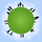 People silhouettes with globe illustration Royalty Free Stock Images