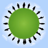 People silhouettes with globe illustration Royalty Free Stock Image