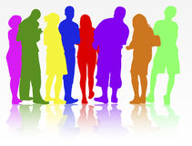 People silhouettes group women and men. Happy Stock Images