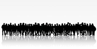 People silhouettes group women and men Stock Photo