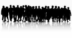 People silhouettes group women and men Stock Images
